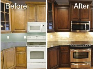 Compliment your granite countertops with kitchen cabinets that have been restored.