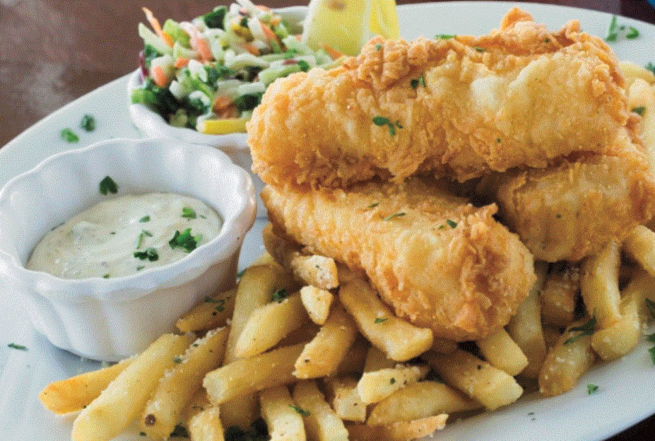 Picture of fish dinner at North 42 Restaurant at MacRay Habor in Harrison Twp, MI