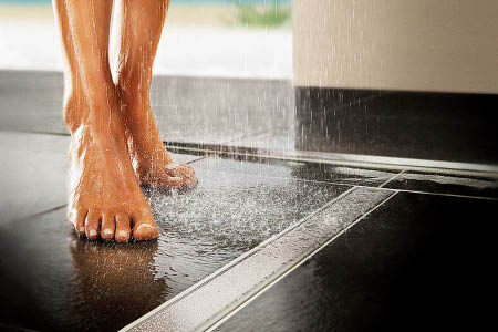Greatly reduced slipping even with wet floors or showers