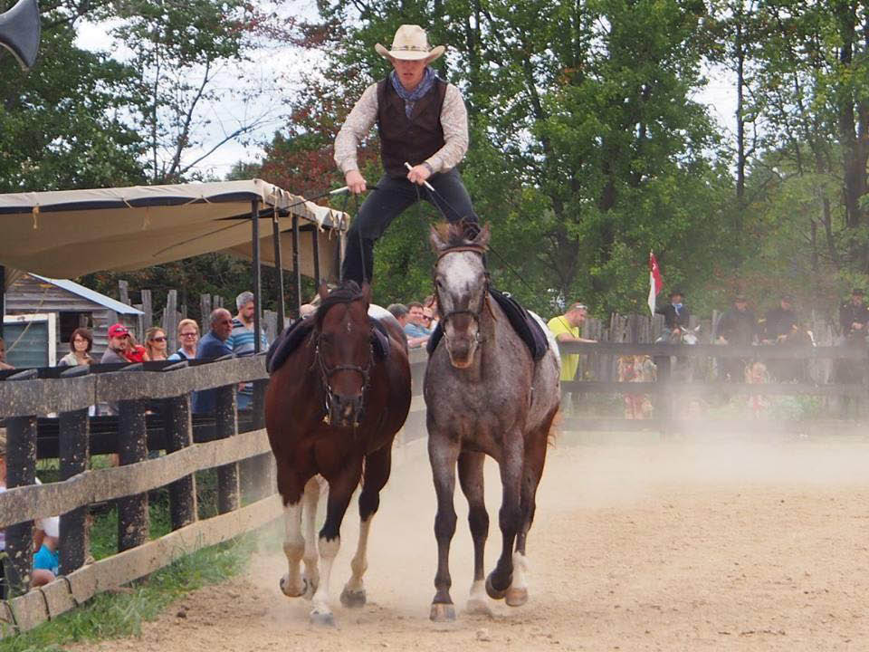rodeo rider standing in saddle
