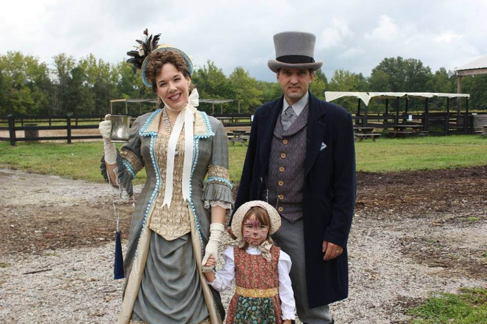 couple in western period costumes