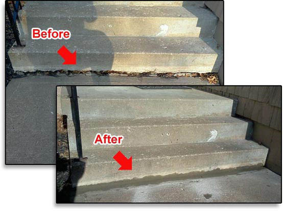 Before & After photos of concrete lifting of steps in Omaha, NE