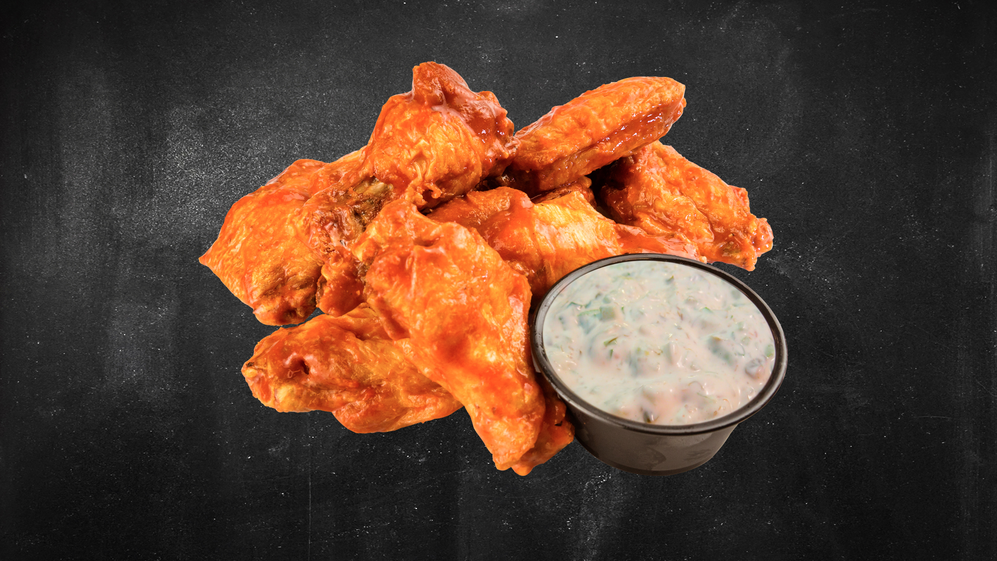 OMG! Spicy wings with our own dipping sauce