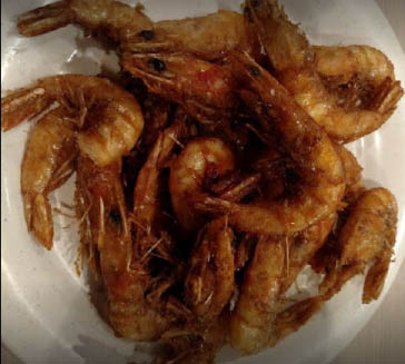 Boiled shrimp on the buffet.