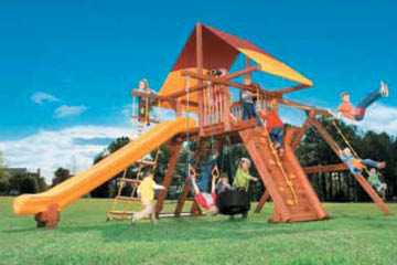 outdoor-play-swing-set-slide-recreation-unlimited, swing sets, play sets, playhouses