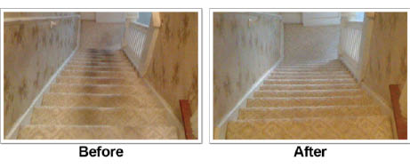 before and after stairs cleaned by Oxi Fresh Carpet Cleaning in Waukesha