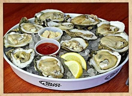 Fresh from the gulf Oysters. Comes in orders of half-dozen and dozen.