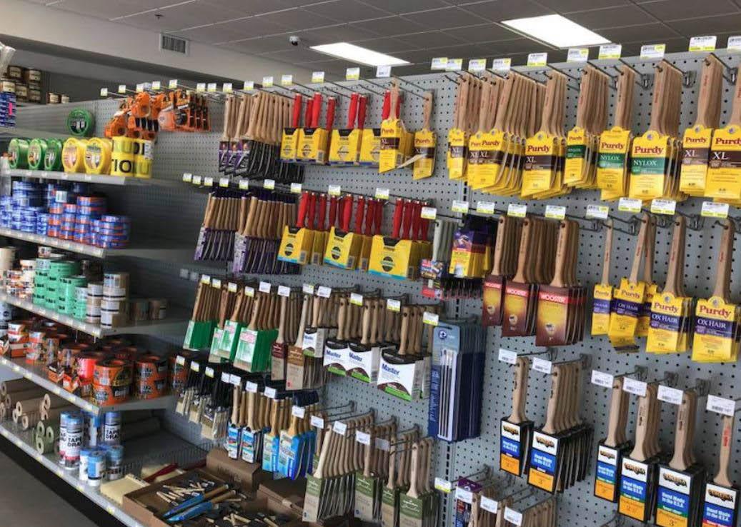 paint, wallpaper, hardware, paint supplies