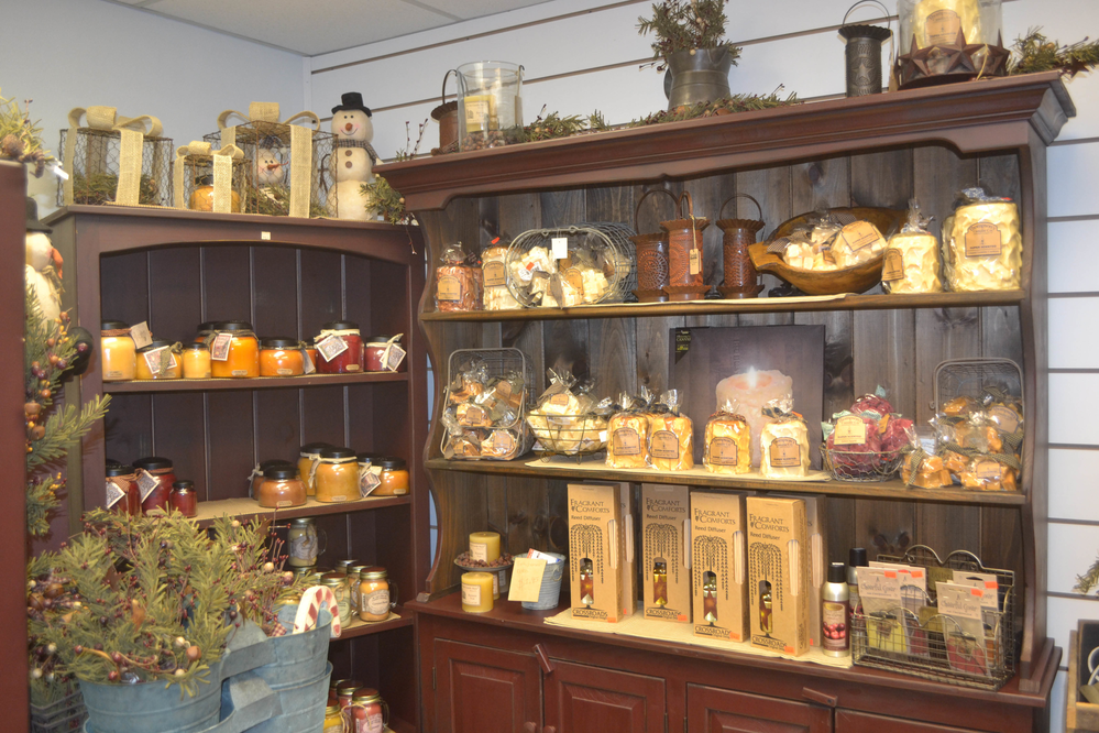 Choice candles in a variety of scents and potpourri