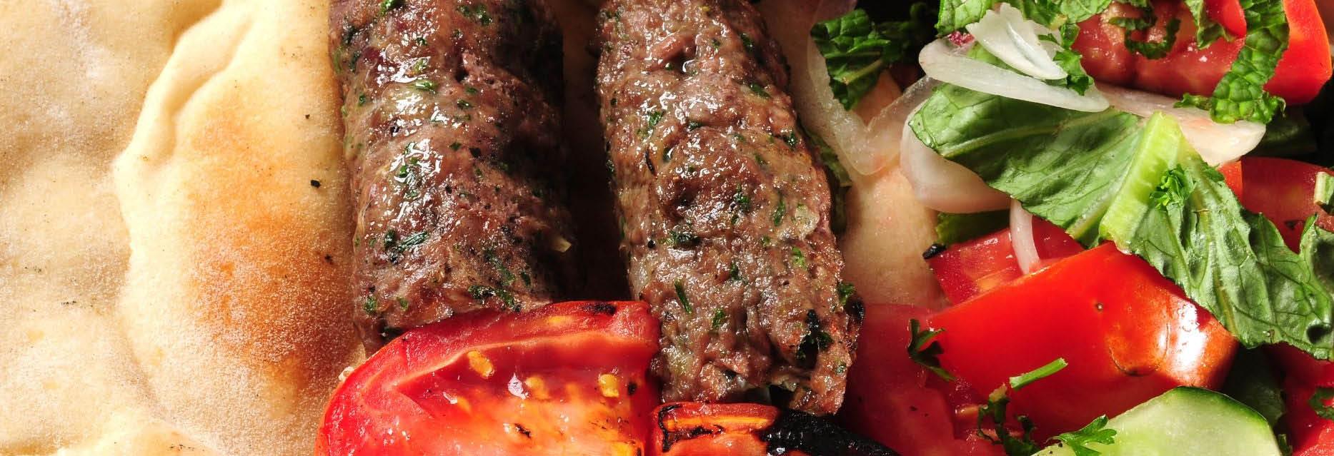 Fresh Pita Bread, Juicy Meat and Garden Veggie Kabob banner