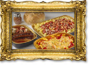 display of Italian pasta dishes from Papa's Saverio's Pizzeria in Glen Ellyn, Illinois; catering