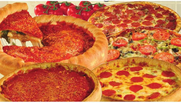 display of deep dish pizzas; stuffed crust, pepperoni; Papa Saverio's Pizzeria in Glen Ellyn, IL
