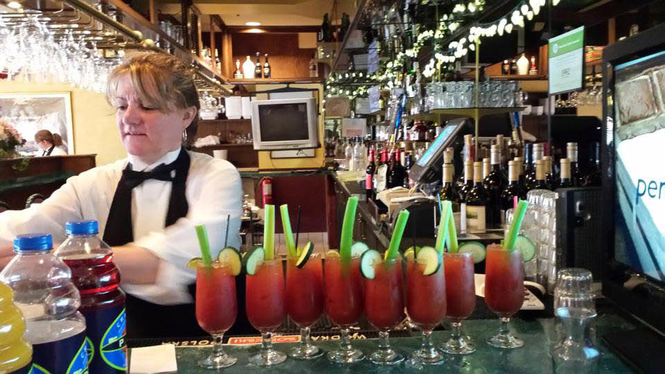 Bloody Mary cocktails on bar for party at Papa Joe's in Chicago Ridge, Il.