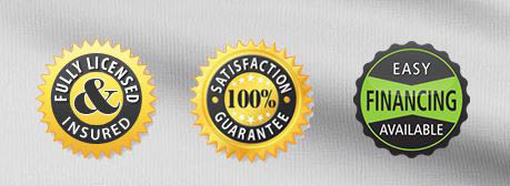 Fully Licensed & Insured, Satisfaction Guarantee, Financing Available labels