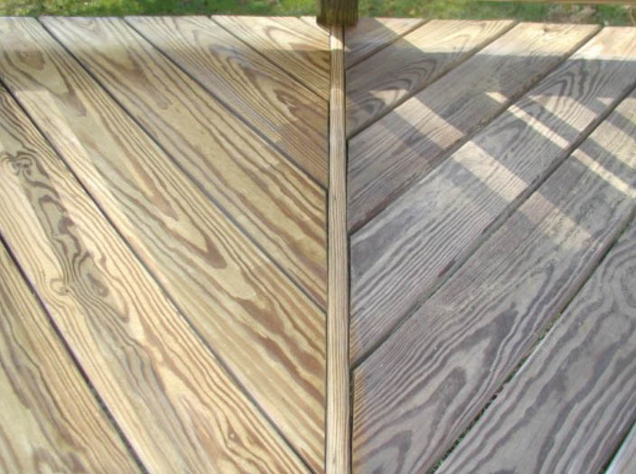 before and after deck washing; wood deck cleaning
