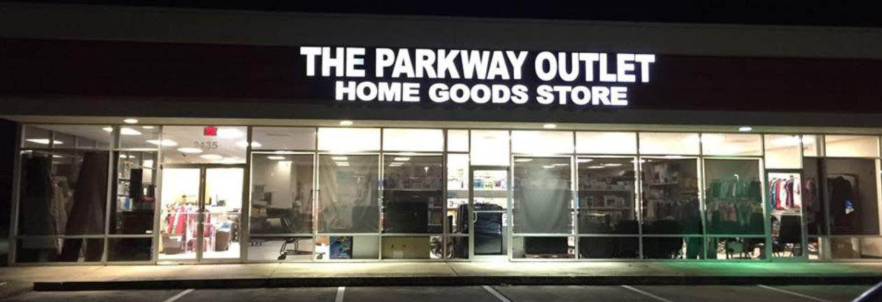 Exterior of The Parkway Outlet Home Goods Store banner