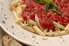bowl of hot pasta and marinara sauce from Rosati's near Schaumburg, IL