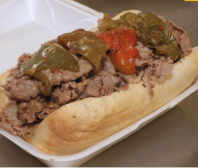 Italian beef with sweet peppers sandwich