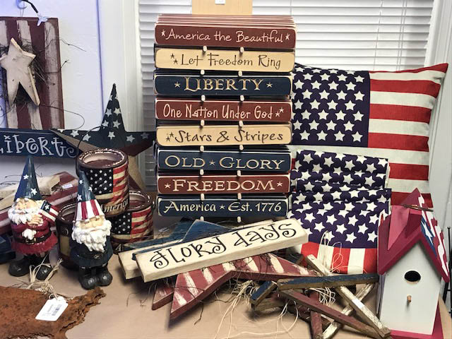 All Aflutter - Patriotic gifts: Gnomes, wall or door hangings, pillows, & birdhouses.