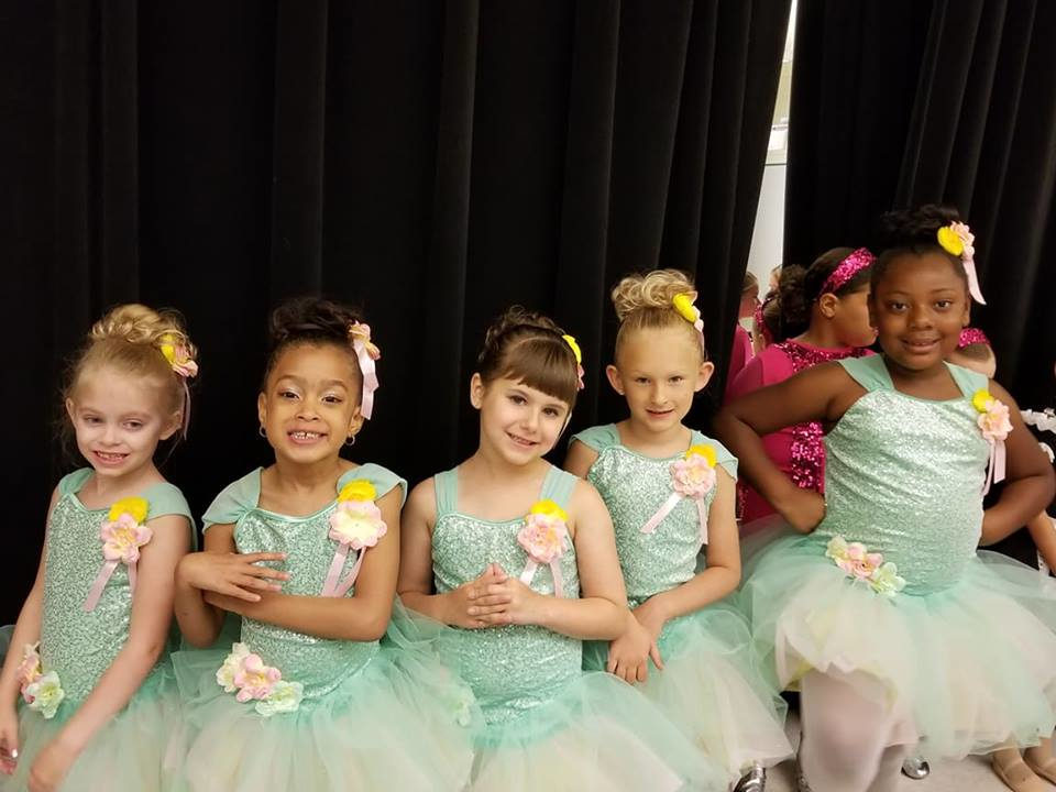 Young girls getting ready for season ending show