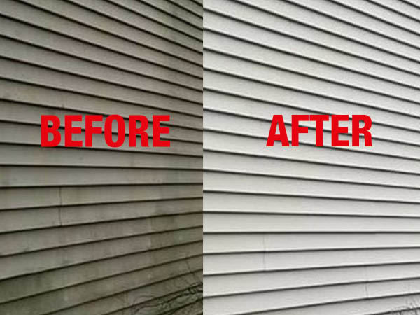 Paul's Power Wash, LLC before and after siding