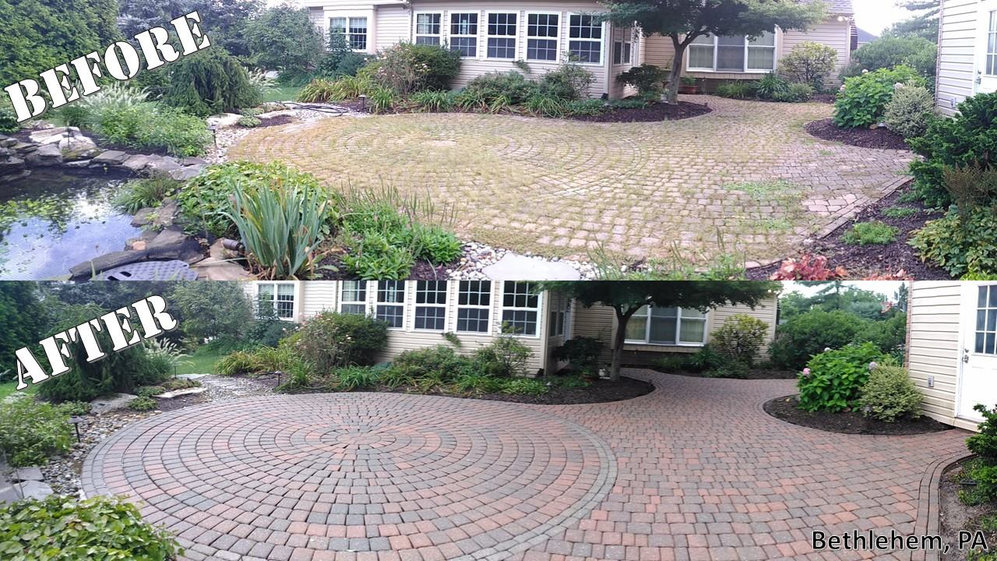 Before and after restoration of a spacious patio