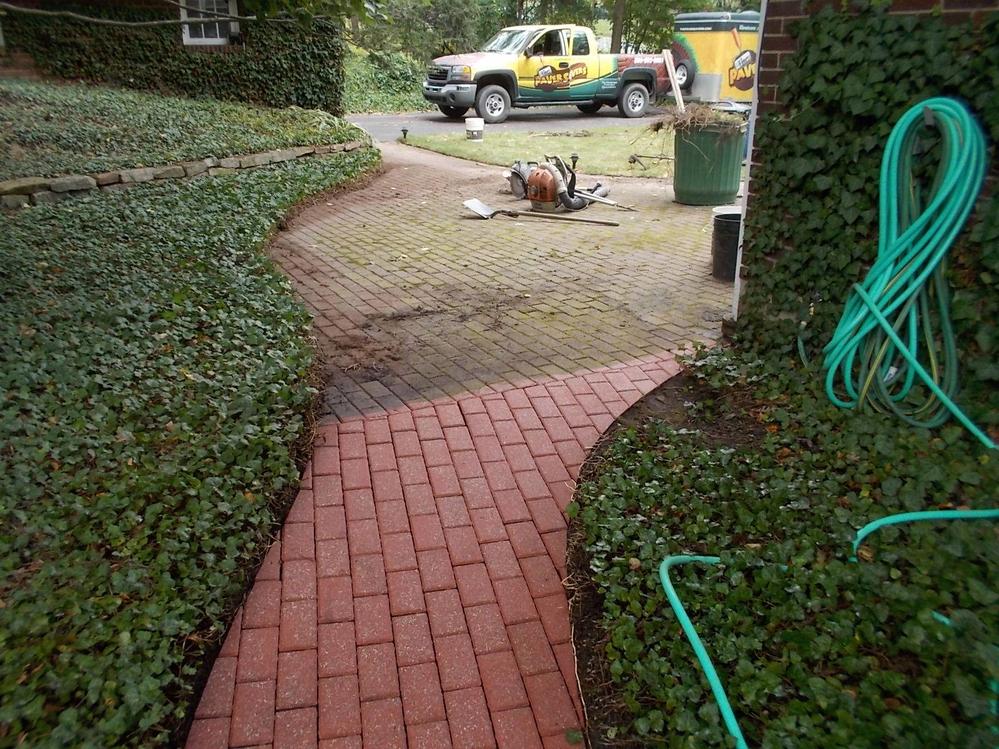 Deep cleaning walkway restoration process