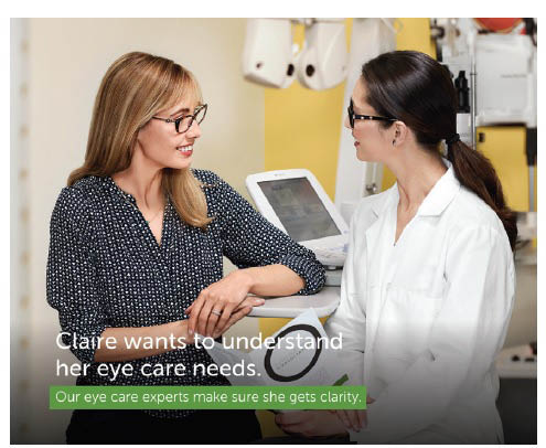 Pearle Vision optometrist & client ad