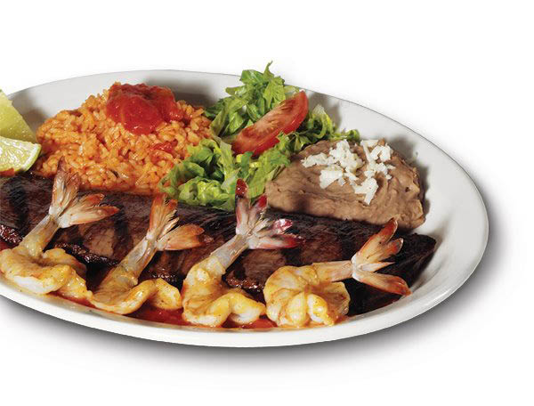 Tender, juicy steak & shrimp at Pepe's Mexican Restaurant.