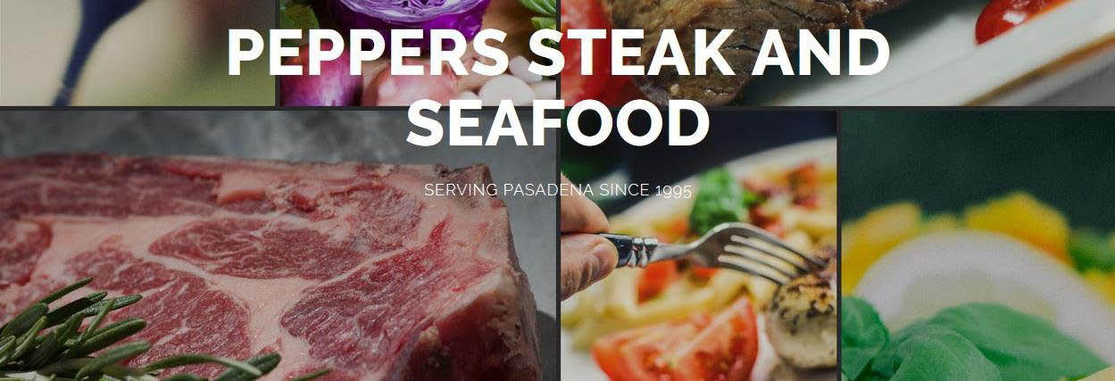 Peppers Steak & Seafood menu options banner