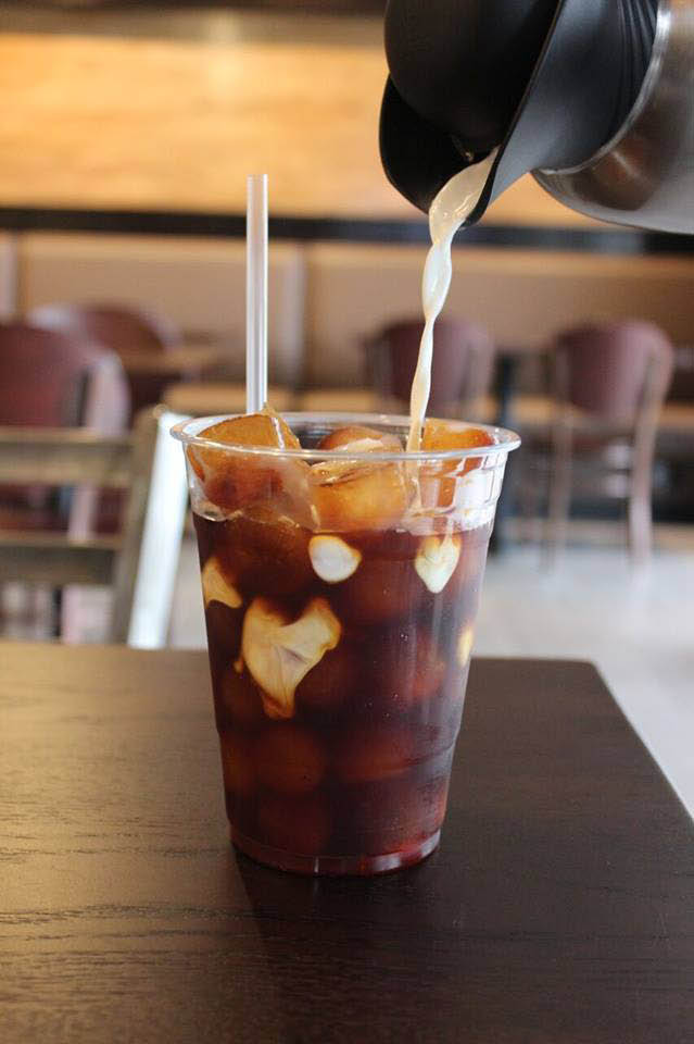 Iced coffee with coffee ice cubes at Perks Coffee