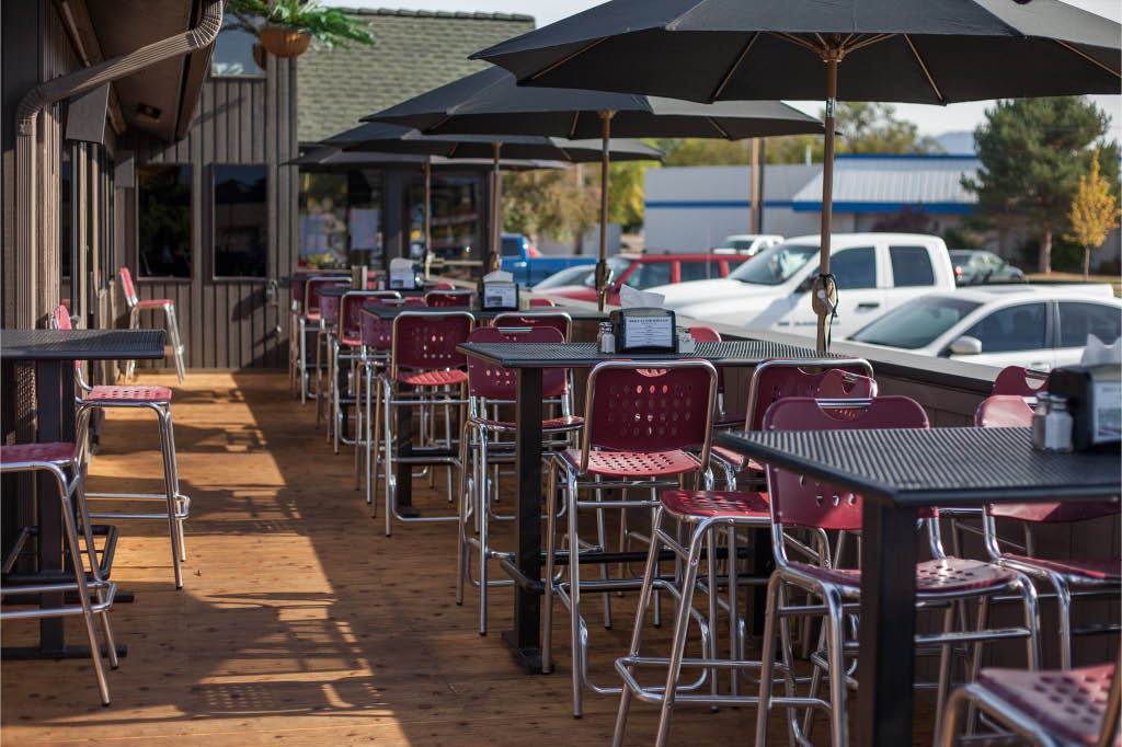 Enjoy outdoor patio seating with a view