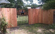 Wood fence and iron gate
