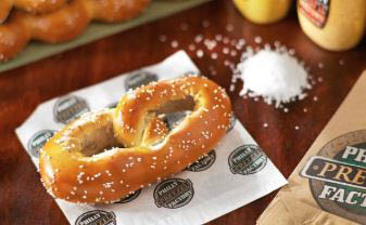 pretzel factory, snacks, dips