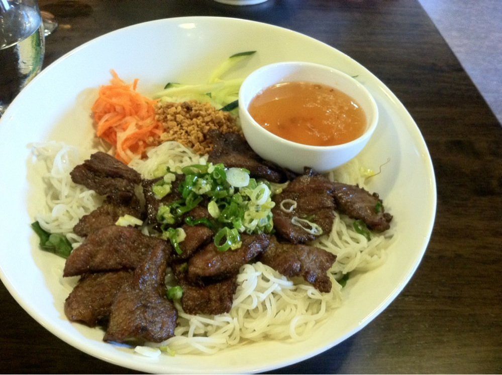 beef and broccoli on rice; dipping sauce; Pho 11; State College