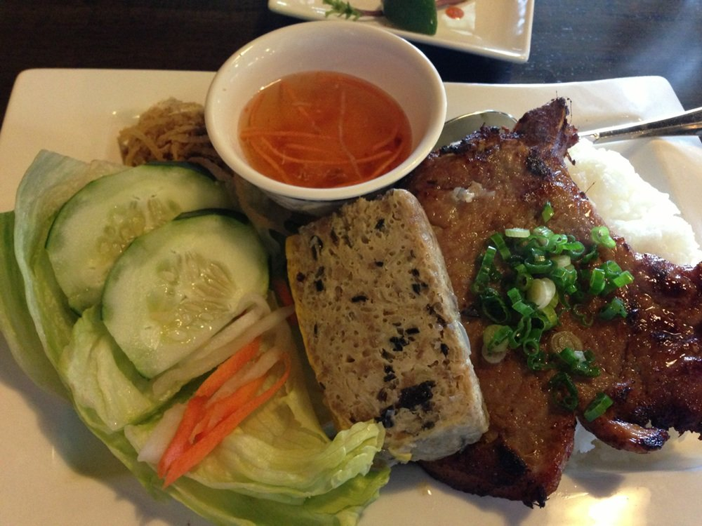 pork plate with cucumber ginger salad and dressing; Vietnamese food near Springfield, PA