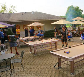 Outdoor Patio and Games at Black Bear Golf Club in Franklin, NJ