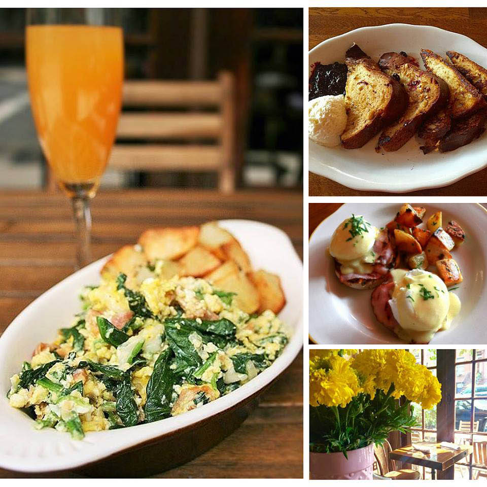 Egg & spinach dish, French toast and eggs benedict for brunch