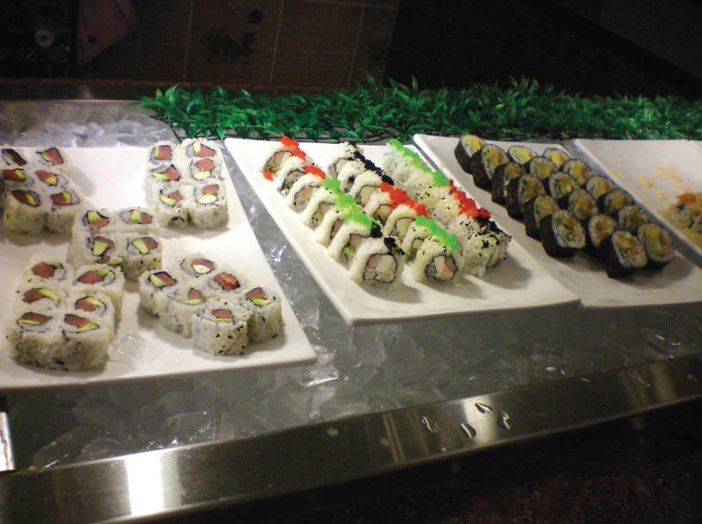 Hibachi Grill sample of fresh Sushi at the sushi buffet, sushi bar,