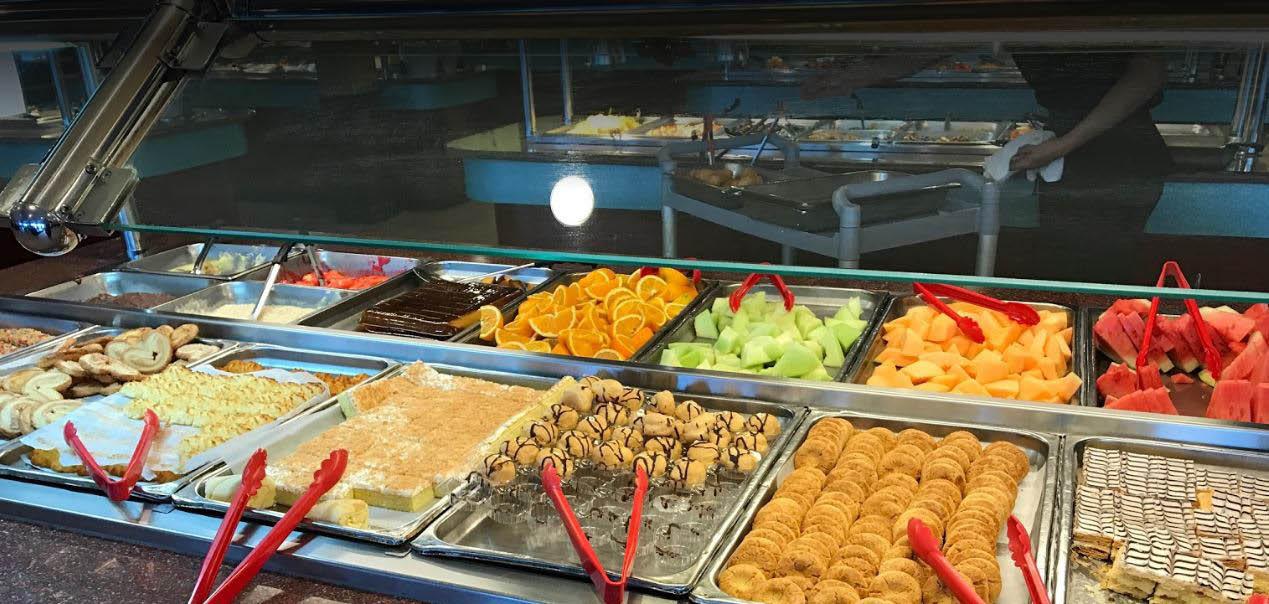Hibachi Grill sample of fresh fruit at the sushi buffet, sushi bar,