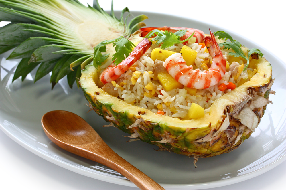 Shrimp fried rice in a pineapple
