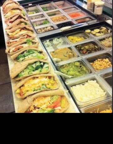 Picture of all the topping for the pitas at pita pit in Macomb, MI