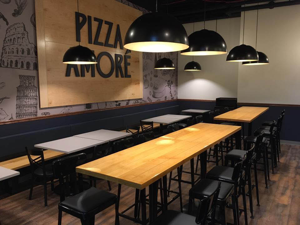 Lots of space in our modern dining room at Pizza Amore.
