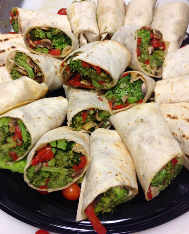 Pizza Express offers catering service platters like these delicious wraps