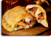 Stromboli at Pizza Inn is stuffed with ham and cheese.