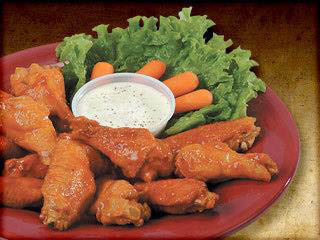 Chicken wings are available at Pizza Ranch's buffet.