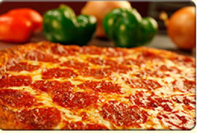 Freshly baked, piping hot, pepperoni pizza at Chanello's