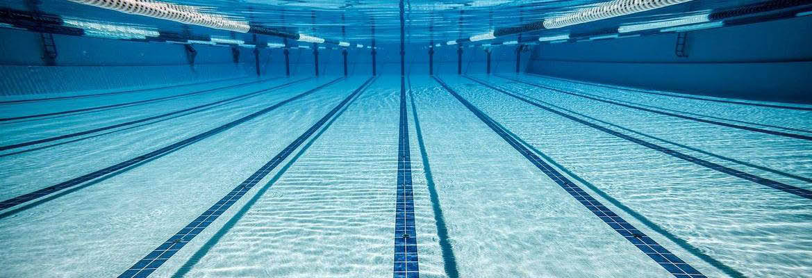 Underwater view in a swimming pool with swim lanes