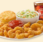 shrimp, chicken, biscuits