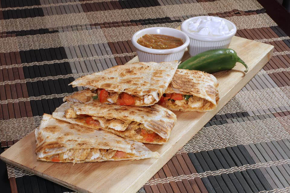 Chicken quesadillas served at Premier Fire & Grill.